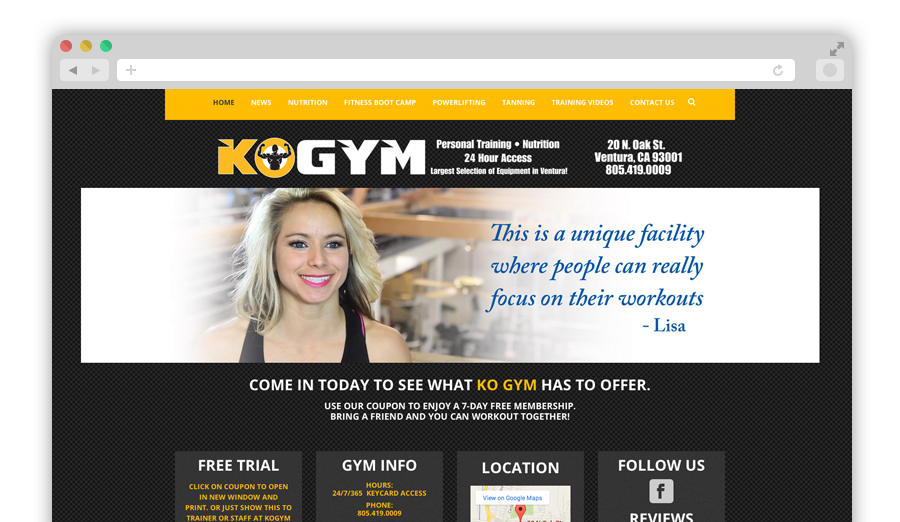 KO Gym Website